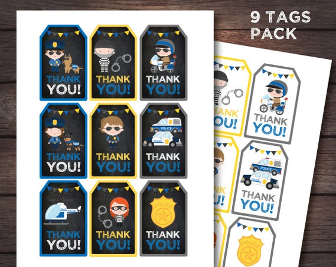 Police birthday party, Police thank you tags, Police printables, Cops and robbers party, Police favor tags, DIGITAL files