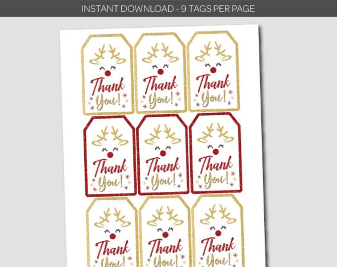 Christmas Reindeer Birthday Thank you Tags, Holiday Party Favor Tags, Instant Download, Digital