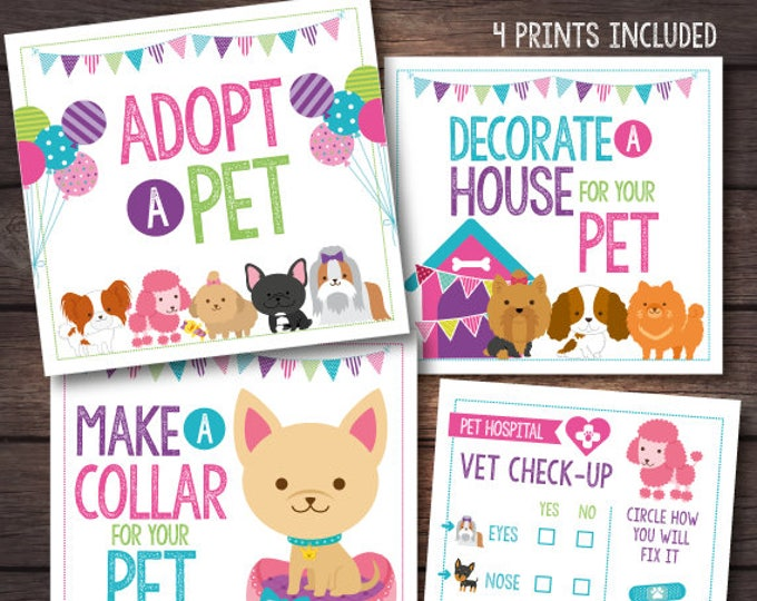 Pet Adoption Party, Puppy adoption party, Puppy birthday, Digital files, 4 prints, Instant download