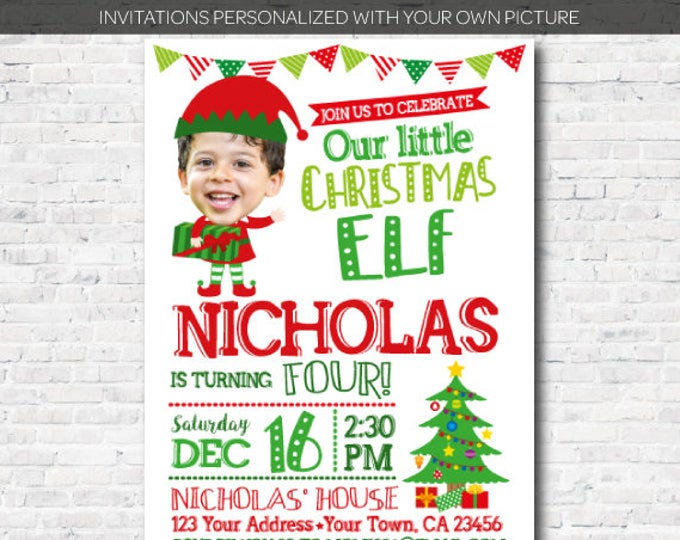 Personalized with your picture, Little Elf Birthday Invitation, Christmas Party, DIGITAL, You print