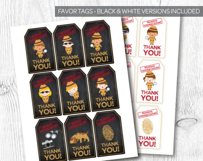 Secret Agent Favor Tags, Detective Birthday Party,  Spy Party, Mystery Party, Printable Tags, DIGITAL File, Instant Download