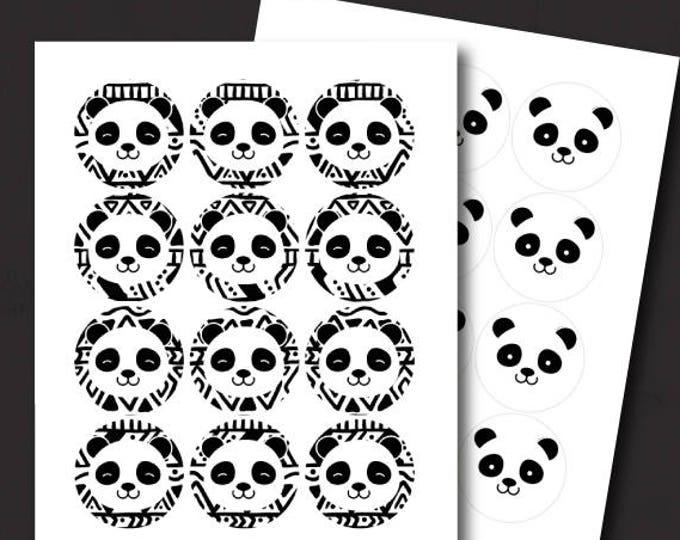 Panda Cake Topper, Panda Birthday Party, Panda Baby Shower, Panda Stickers, Printable, Black and white baby shower, INSTANT DOWNLOAD