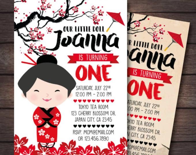 Kokeshi Doll Invitation, Japanese Doll Invitation, Kokeshi Doll Birthday Party, Japanese Tea Party Invitation, 2 options, DIGITAL