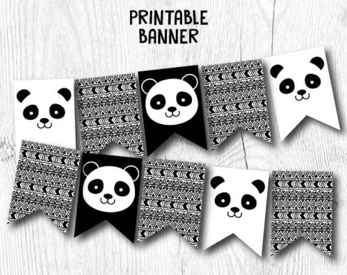 Panda Banner, Panda Birthday Party, Panda Baby Shower, Panda Decor, Black and white baby shower, DIGITAL, INSTANT DOWNLOAD