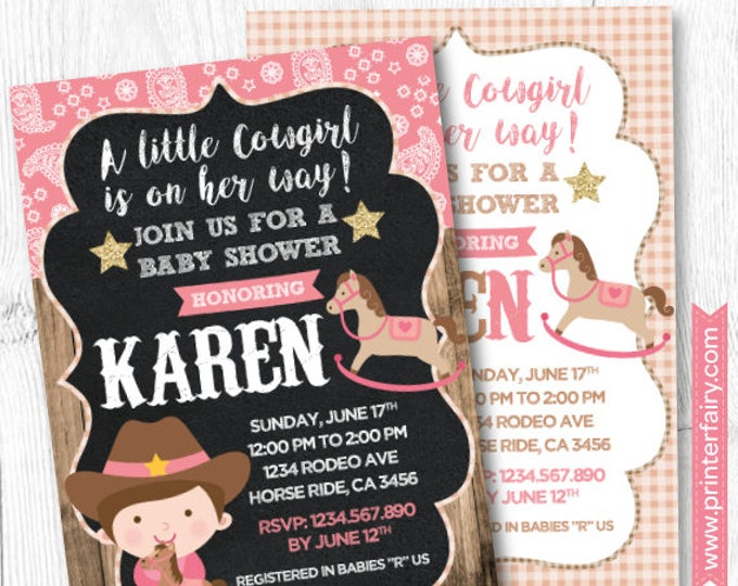 Horse Baby Shower Invitation, Cowgirl  Baby Shower, Pony Baby Shower Invitation, Girl Baby Shower Invitation, DIGITAL, 2 Options
