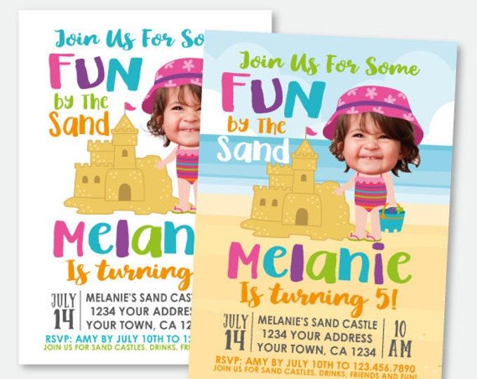 Beach Birthday Invitation with Photo, Sand Castle Party Invitation, Summer Party Invitation, Personalized Printable Invitation, 2 Options