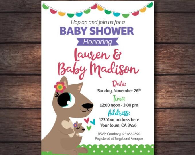 Kangaroo Baby Shower Invitations, Girl Baby Shower, Digital Invites, You Print!
