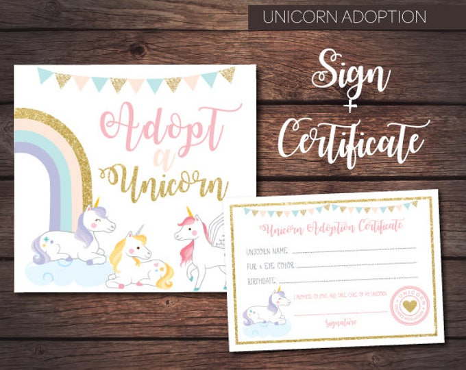 Adopt a Unicorn, Unicorn Birthday Party Decorations, Unicorn Games, Magical Birthday Party, Instant download
