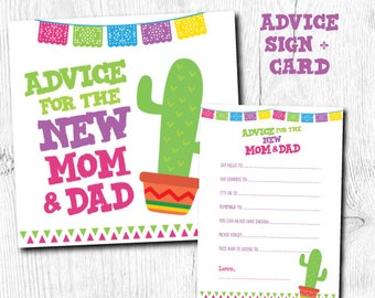 Advice for parents to be, Fiesta Advice for mommy to be, Fiesta Baby Shower Games, Cards and sign pack, Instant Download