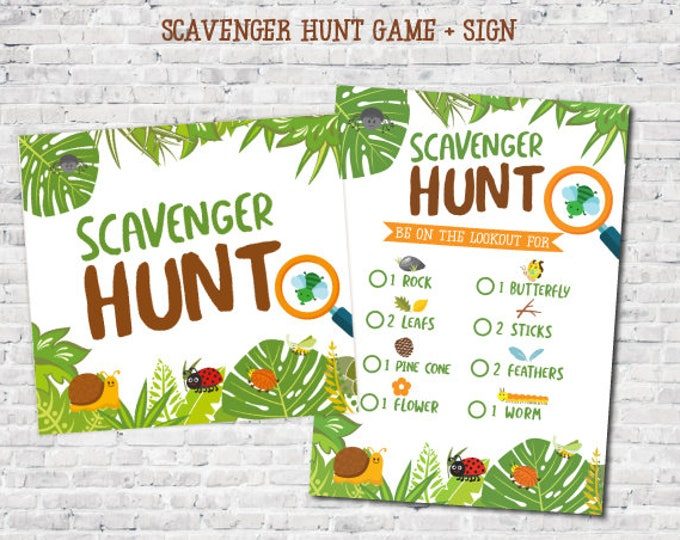 Scavenger Hunt Game and Sign, Insects Printable Games, Creepy Crawlers Printable Games, DIGITAL, Instant Download