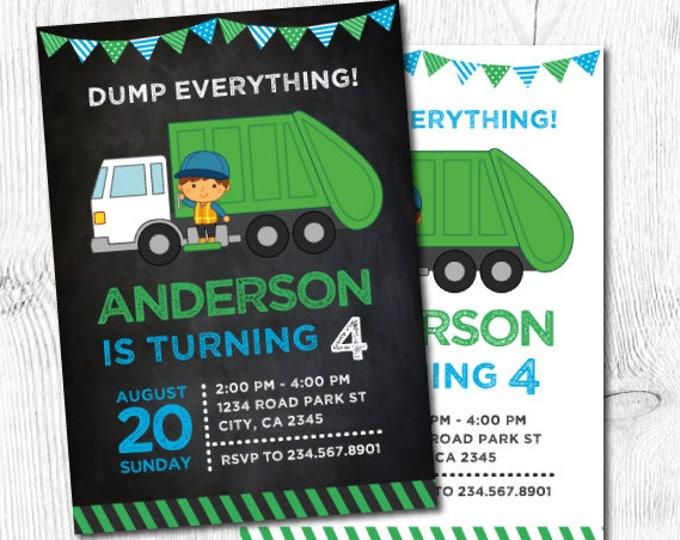 Garbage Truck Birthday, Trash Truck Invitation, Garbage Invitation, Recycle Birthday party, Garbage truck invite, DIGITAL, 2 Options