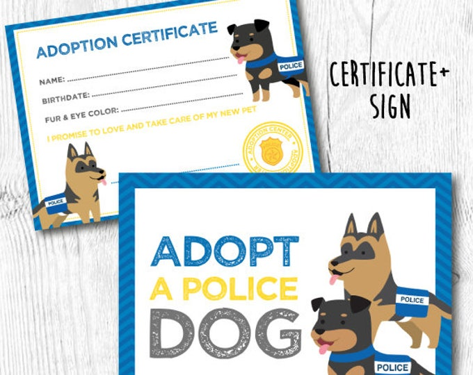 Puppy Adoption Certificate, Police Birthday Party, Adopt a pet Party, DIGITAL files