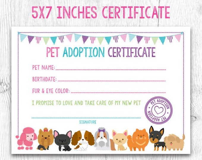 Pet Adoption Certificate, Pet Adoption Birthday Party, Puppy Birthday, Printable Certificate, Instant Download