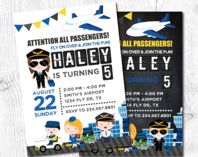 Airplane Invitation, Time Flies Birthday Invitation, Airplane Birthday, Airport Birthday Party, DIGITAL, 2 Options