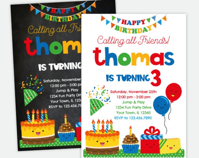 Birthday Party Invitation, Kawaii Birthday Invitation, Cake Invitation, Balloon Invitation, Personalized Digital, 2 Options