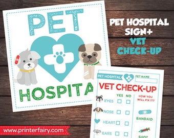 Pet Adoption Party Prints, Printable Vet check up, Puppy Birthday party, Digital files, Instant download