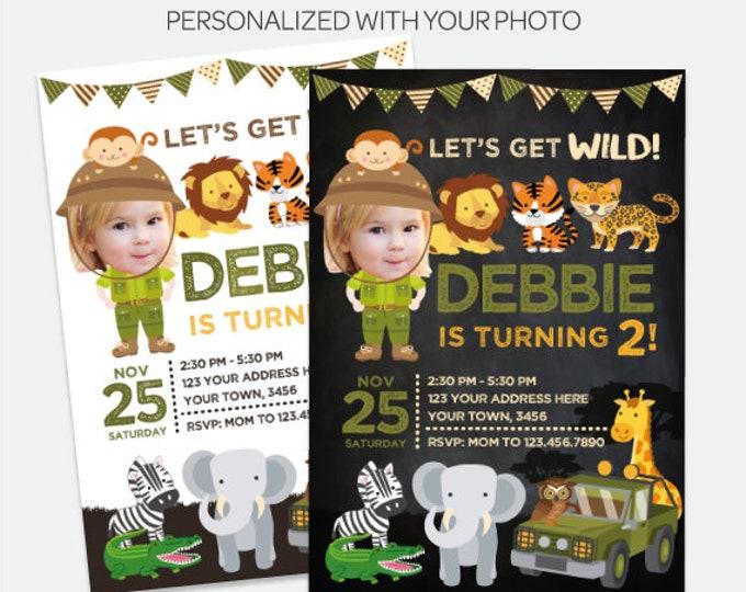 Safari Girl Invitation with Photo, Jungle Invitation, Explorer Birthday Party, Wild Invitation, Personalized DIGITAL Invite, 2 Options