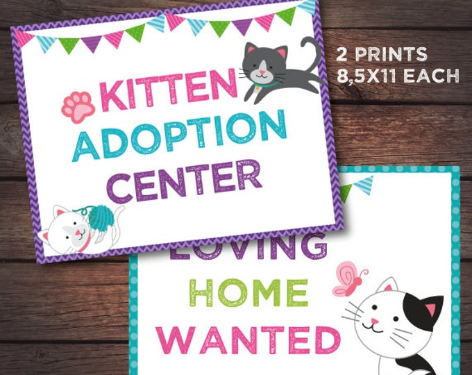 Kitty Cat Birthday party, Kitten adoption birthday, Kitty adoption station prints, Digital files, Instant download