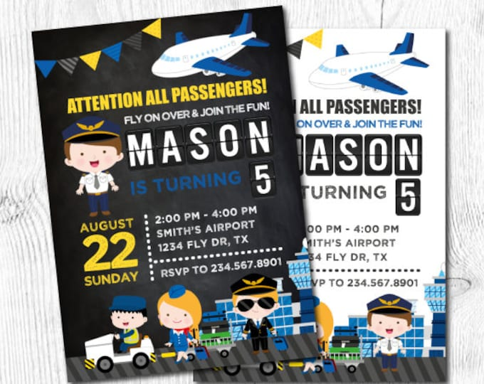 Airplane Invitation, Airplane Birthday, Time Flies Birthday Invitation, Airport Birthday Party, DIGITAL, 2 Options