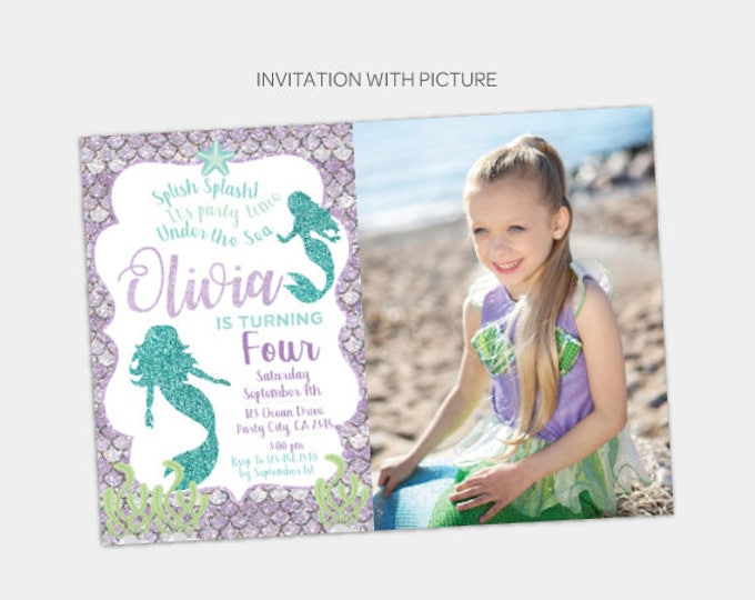 Mermaid Birthday Invitation with Picture, Under the Sea Invitation, Ocean Invitation, Any age, DIGITAL, You Print!