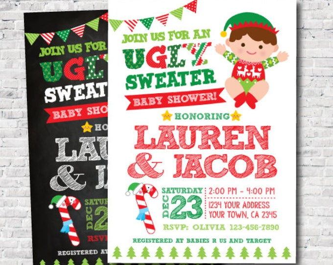 Ugly Sweater Baby Shower Invitation, Holiday Invitation, Christmas Baby Shower, Personalized Invite, Unisex Shower Invitation, DIGITAL