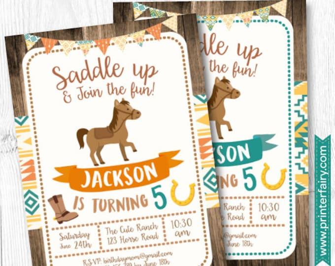 Horse Invitations, Pony Birthday Invitation, Cowboy Birthday Invitation, DIGITAL, 2 Options