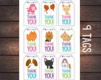 Pet Adoption Party, Puppy thank you tags, Puppy birthday, Dog birthday, Digital files, Instant download