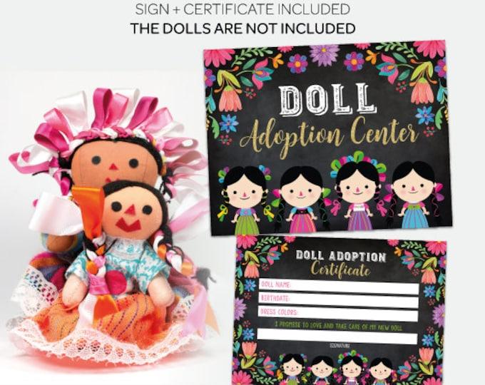 Adopt a Doll, Chalkboard Sign, Fiesta Birthday Games, Fiesta Decorations, Fiesta Baby Shower, Printable files, DIGITAL, Instant Download