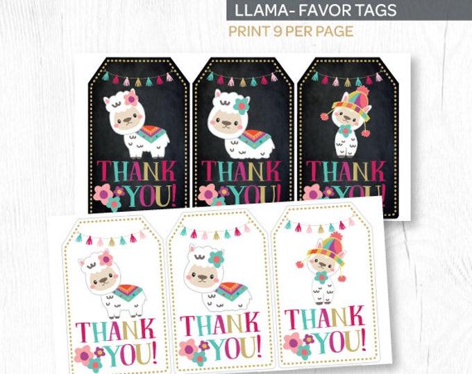 Llama Thank You Tags, Llama Favor Tags, Llama Birthday Party, Printable Tags, Instant Download
