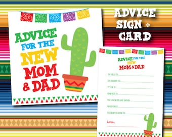 Fiesta Advice for mommy to be, Advice for parents to be, Fiesta Baby Shower Games, Cards and sign pack, Instant Download