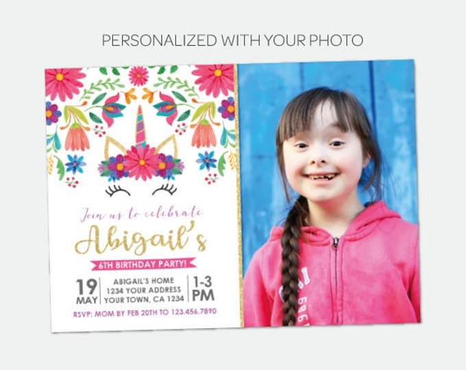 Unicorn Birthday Invitation with Photo, Fiesta Party Invitation, Floral Birthday Party, Personalized DIGITAL Invitations