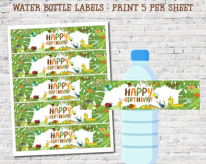 Insects Printable Water Bottle Labels, Creepy Crawlers Labels, Outdoor Birthday Party Decorations, DIGITAL, Instant Download