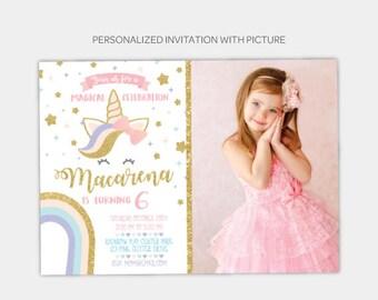Unicorn Birthday Invitation With Picture, Magical birthday Invitation, Rainbow Invitation, Any Age, DIGITAL