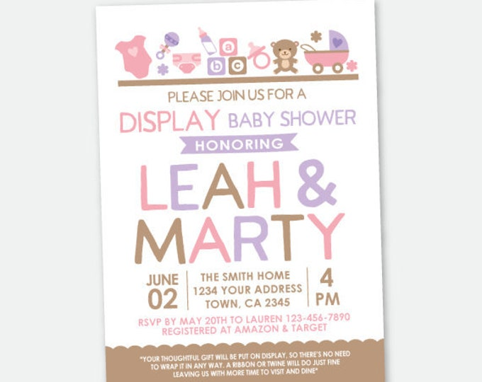 Display Baby Shower Invitation, Baby Girl Shower Invite, Pink purple brown Invitation, Personalized Printable DIGITAL Invite