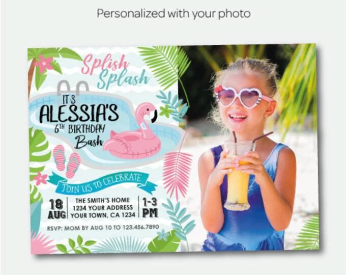 Pool Birthday Invitation with Photo, Flamingo Invitation, Flamingle Birthday Party, Summer Birthday Invitation, Personalized Invitation