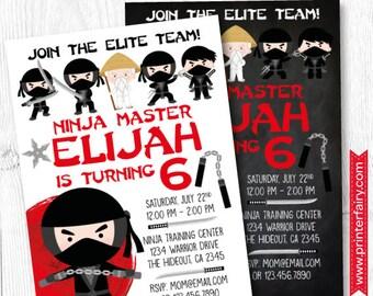 Ninja Invitation, Ninja Birthday Invitation, Ninja party Invitation, DIGITAL, 2 Options