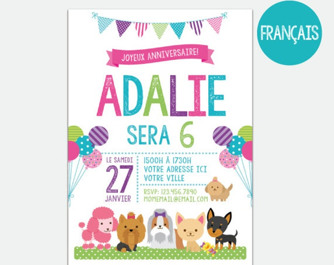 FRENCH Puppies and Kitties Invitation, Pet adoption party, Puppy Birthday Party, Kitty Adoption, Personalized Digital Invitation, 2 Options