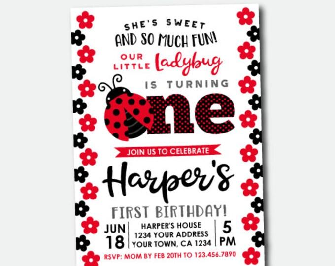 Ladybug First Birthday Invitation, Little Ladybug Birthday Party, Polkadot Invitations, Personalized Invitation, 2 options