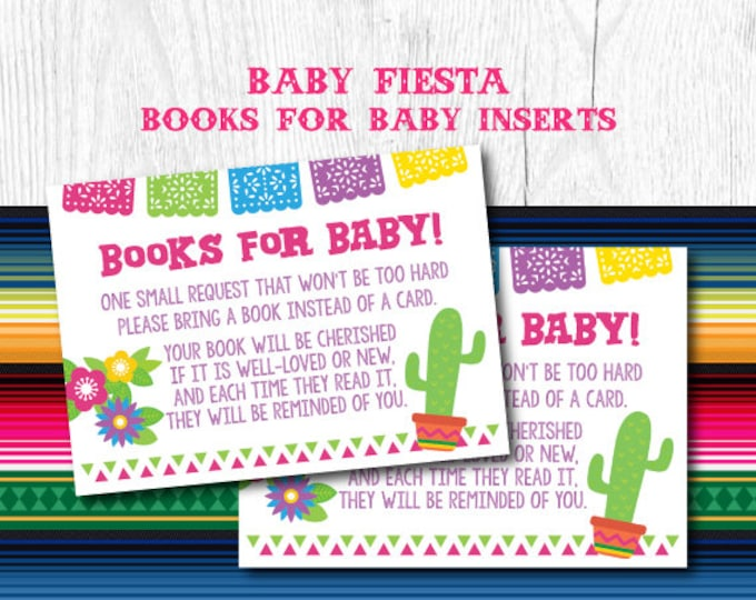 Fiesta Baby Shower, Books For Baby Insert, Baby Shower Games, Bring a Book Baby Shower Insert, Instant Download