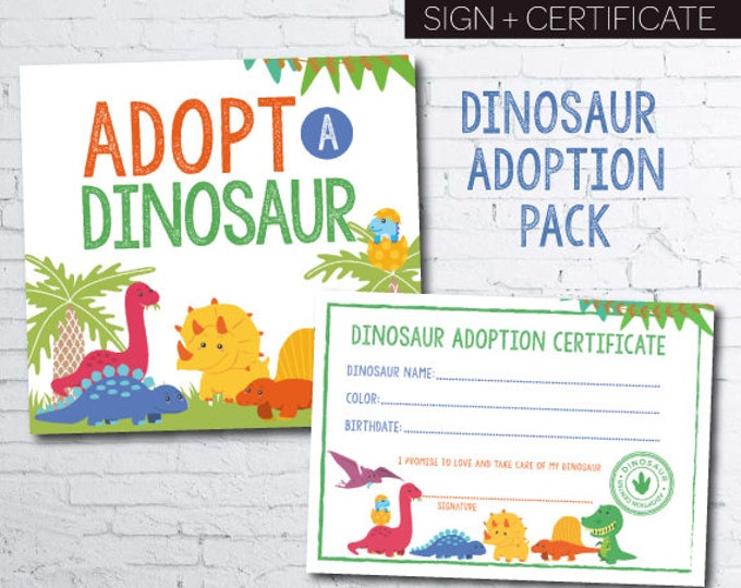 Adopt a dinosaur, Dinosaur Birthday Party, Prehistoric Birthday Party, Dinosaur Party Sign, Pet adoption party, Instant download