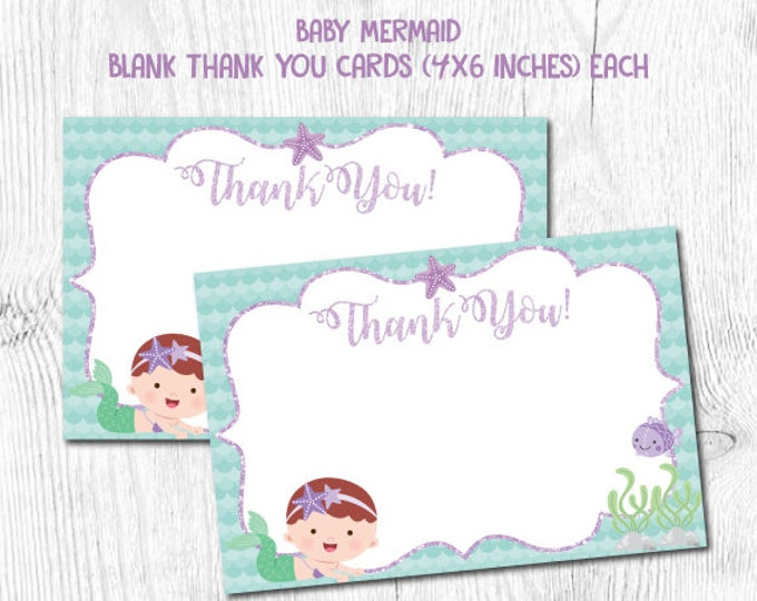 Mermaid Thank You Cards, Mermaid First Birthday, Under the Sea Birthday Party, Mermaid Baby Shower, Instant Download
