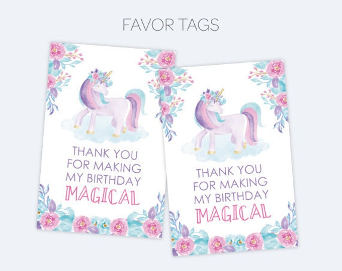 Unicorn Favor Tags, UnicornBirthday Party, Printable Thank You Tags, Floral Birthday party, INSTANT DOWNLOAD