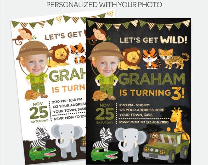 Safari Birthday Invitation with Photo, Jungle Invitation, Explorer Birthday Party, Wild Invitation, Personalized DIGITAL Invite, 2 Options