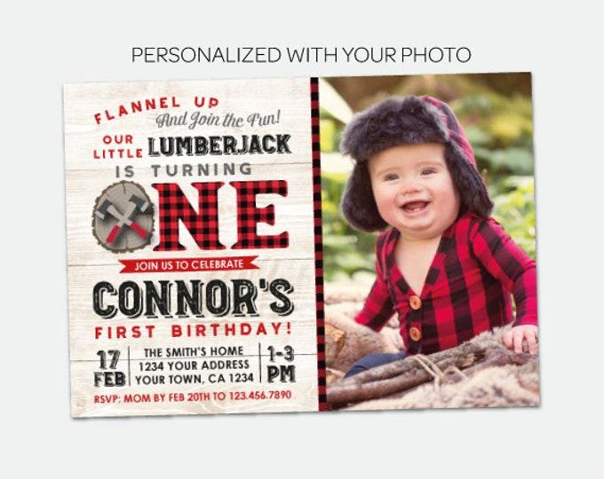 Lumberjack First Birthday Invitation with picture, Flannel Invitation, Woodland First Birthday Invitation, Personalized Digital Invite