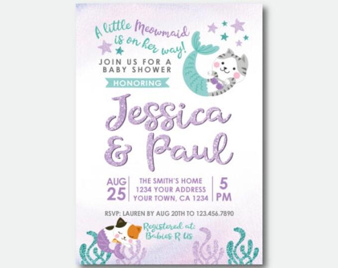 Meowmaid Baby Shower Invitation, Mermaid Baby Shower, Cat Baby Shower Invitation , Personalized Digital Invitation