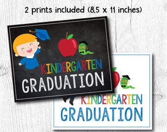 Preschool graduation sign, Last day of kindergarten sign, Last day of Preschool sign, 2 prints included, Digital files, Instant download