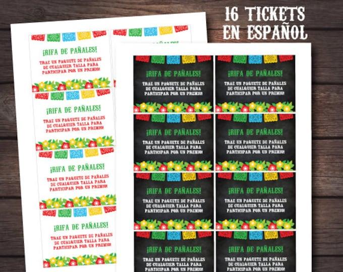 Diaper Raffle Ticket, FIESTA Diaper Raffle Ticket, Diaper Raffle ticket in Spanish, Fiesta baby shower, INSTANT DOWNLOAD