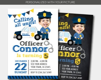 Police Birthday Invitation with photo, Police Officer Invitation, Police Birthday Party, Personalized DIGITAL Invitation, 2 Options