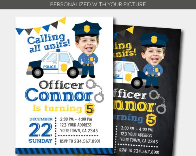 Police Birthday Invitation with photo, Police Officer Invitation, Police Birthday Party, Personalized DIGITAL Invitation, 2 Options