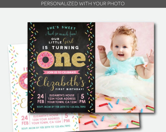Donut First Birthday Invitation with Photo, Donut Birthday Invitation, Sprinkles Invite, Personalized Invitation, 2 options